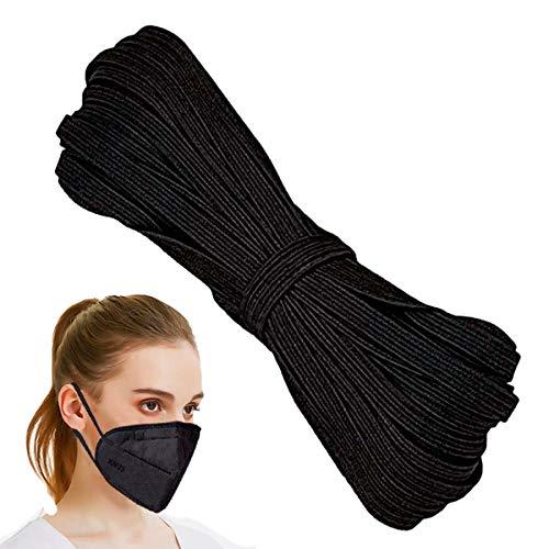 Flat Elastic Cord for Masks - 6mm, 10m, Black | Elastic String, Band, Strap for Sewing, DIY Mask Making, Clothes