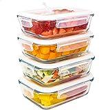 LG Luxury & Grace Pack 4 Recipientes de Cristal 600 ml. Cierre Hermético y Válvula de Vapor. Envases Contenedores Aptos para Microondas, Horno, Lavavajillas y Congelador. Sin BPA.