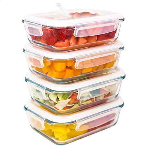 LG Luxury & Grace 4er Packung Glas Frischhaltedosen 600 ml. Luftdicht und Dampfloch. Geeignet für Mikrowelle, Ofen, Gefrierschrank und Spülmaschine. BPA frei.