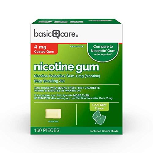 Basic Care Coated Nicotine Polacrilex Gum, 4 mg (nicotine), Mint Flavor, Stop Smoking Aid, 160 Count