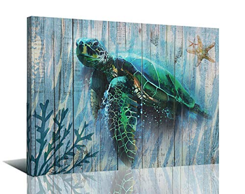 Arjun Canvas Green Sea Turtle Wall Art Prints Submarine Picture One Panel 16'x12' Blue Green Sea-Plant, Modern Landscape Painting Prints Framed Ready to Hang for Living Room Bedroom Nursery Room Decorations