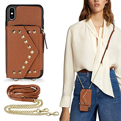 iPhone X Crossbody Zipper Wallet Case, LAMEEKU iPhone Xs Rivet Card Slot Leather Cover, TPU Shockproof Kickstand Magnetic Clasp Purse Case for Women with Wrist Strap for iPhone X/Xs, 5.8 inch- Brown