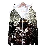 JSDLXD 3D-Schädeldruck Unisex-Strickjacke Langarm-Sweatshirts Uniformpullover Outdoor-Freizeitclub Street School Uniformjacke-EIN_3XL