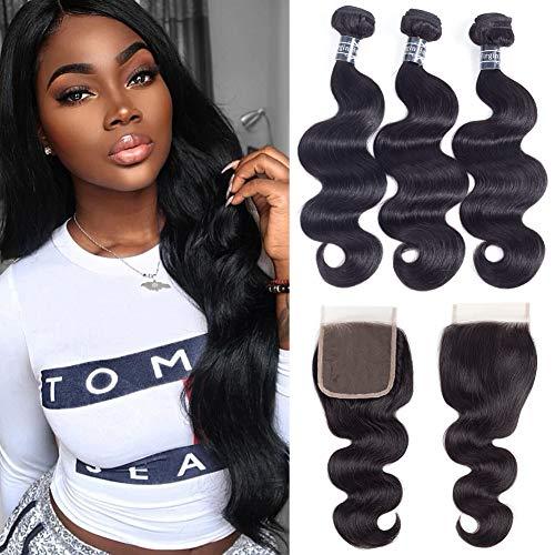 Amella Hair Brazilian Body Wave Hair Bundles with Closure(14 16 18+12 Free Part),8A 100% Unprocessed Brazilian Virgin Body Wave Hair Weave with 4x4 Closure Remy Hair