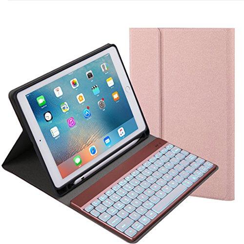Neutral products Teclado inalámbrico Bluetooth extraíble Teclado retroiluminado de 7 Colores para 2018 iPad / 2017 iPad / Pro9.7 / Air2 / Air Soporte para lápiz Universal de Colores (Dorado Claro)