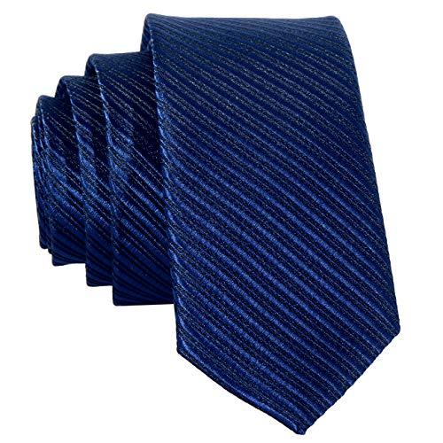 DonDon schmale marineblaue Krawatte 5 cm gestreift