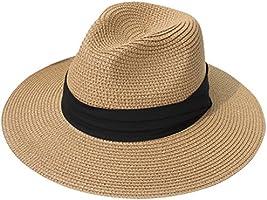Lanzom Women Wide Brim Straw Panama Roll up Hat Belt Buckle Fedora Beach Sun Hat UPF50+