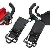 liltourist Pack de 2 ganchos para cochecito de bebé, con banda de velcro, mosquetón para cochecito de bebé, ganchos de aluminio con correas de velcro, antideslizantes