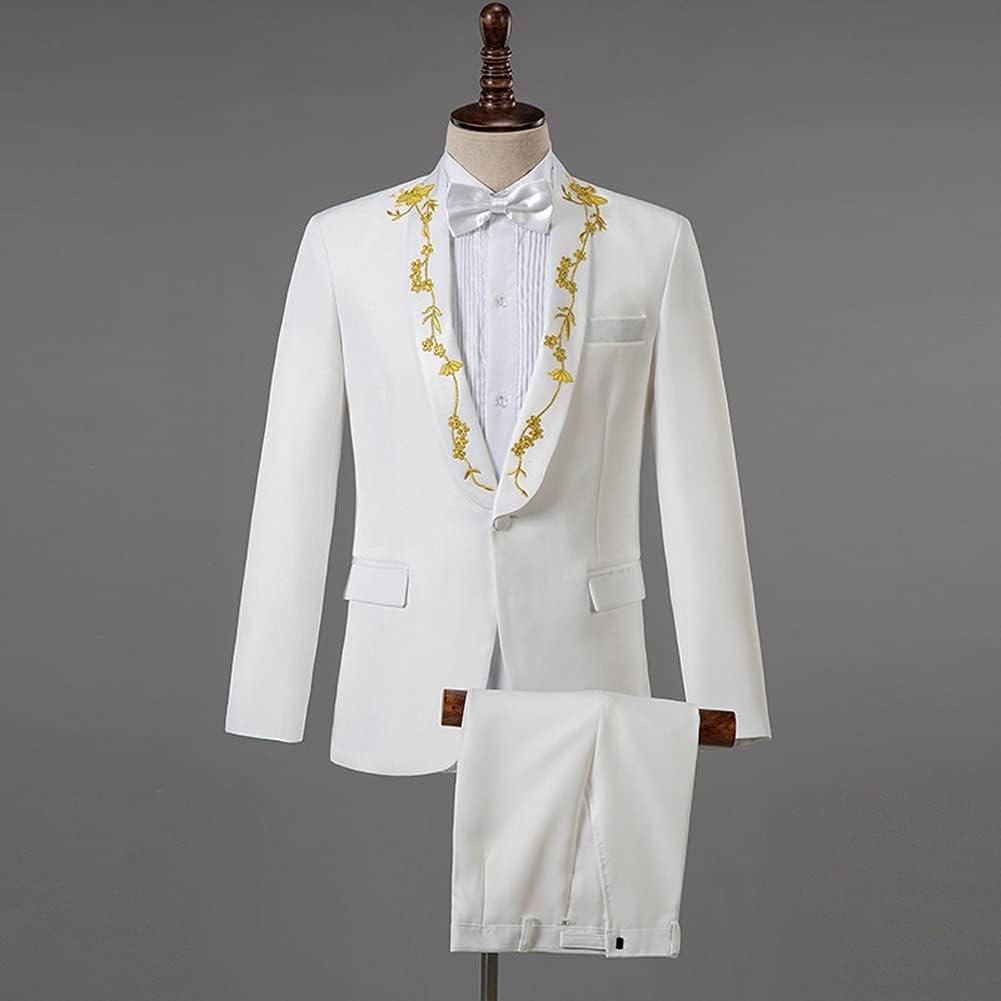 GYZX Men Black Suit Set Wedding Suits for Men Elegant Gold Embroidered Mens Suits 2 Piece Mens Suits (Color : White, Size : Asian XL)