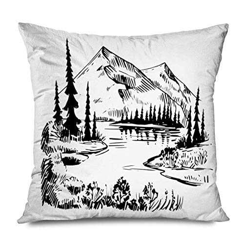 Throw Pillow Cover Square 16x16 Inches White Peak Wild Natural Altitude Top Mountains Hill Pure Lake Pines Alpine Nature Relaxation Draw Decorative Pillowcase Home Decor Cushion Case 16\ X 16\(IN)