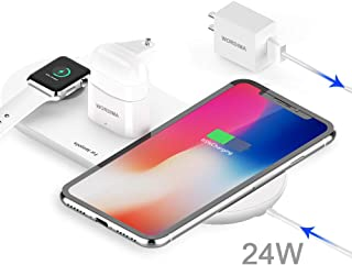 WORDIMA Airpower Wireless Charging Pad, 3-in-1 Multiple Devices Wireless Charger Dock Fast Charge Station Compatible with Airpods1-2,iPhone 8,8 Plus,X,Xr, Xs,Max, iWatch 1-4(Not for Series 5 and OS6)