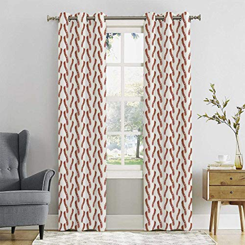 HELLOLEON Room Darkened Insulation Grommet Curtain Delicious Protein Meal Living Room W42 x L84 Inch
