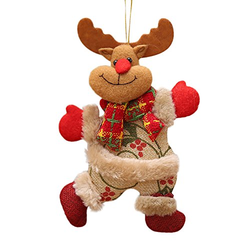 Conwinart 1 pcs Plush Christmas Ornaments, Christmas Ornaments, Happy Holidays Ornaments, Christmas Tree Decorations Santa Claus, Snowman, Reindeer, Bear Plush Charm (3)