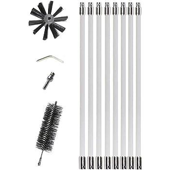 Festnight Kit doutils de nettoyage de conduits de dessiccateur de brosse en nylon pour chaudi/ère de chemin/ée