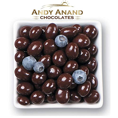 Andy Anand's Chocolates- Premium California Blueberries covered with Vegan Rich Dark Chocolate in Gift Basket, All-Natural and certified Made from Natural Ingredients (1 lbs) (1 lbs)