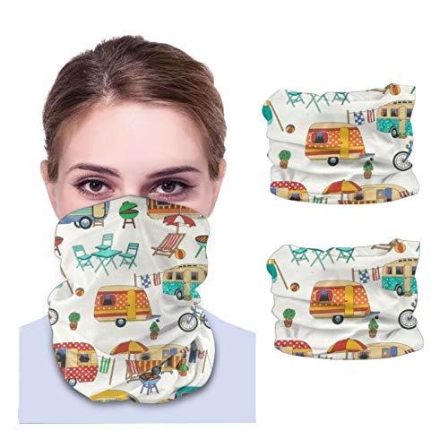 Máscara facial Bandana para cubierta de polvo feliz camping retro viaje bicicleta diadema cuello polainas 2 piezas