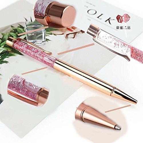 Ballpoint Pens,Rose Gold Metal Pen Refills Bling Glitter Sand glass Advertisement Pen Black Ink for Office Supplies Photo #6