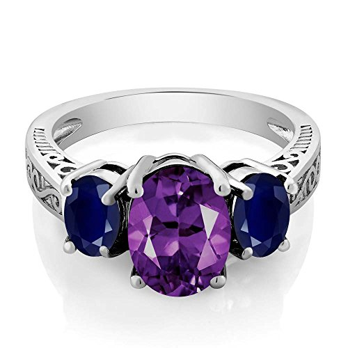 Gem Stone King Sterling Silver Purple Amethyst and Blue Sapphire 3-Stone Women's Ring (2.76 Cttw Gemstone Birthstone) (Size 9)
