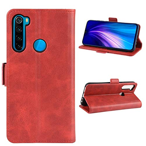 Liluyao Funda telefónica para Xiaomi para Xiaomi redmi Nota 8T Doble Hebilla Caballo Loco de Negocios del teléfono móvil de la pistolera con función Soporte de la Tarjeta Monedero (Color : Red)