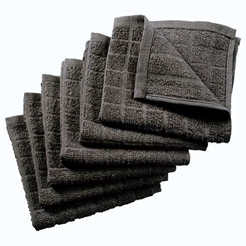 Nirisha Cotton Terry Dish Cloth - 6 Pack - Grey - 12 x 12 Inches - 400 GSM - 100% Ringspun 2 Ply Cotton - Box Weave - Soft & High Absorbent