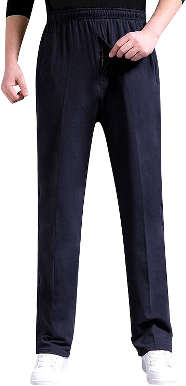 Zoulee Men's Casual Cotton Jogger Sweatpants Zipper Front Pants