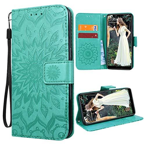 VemMore für Huawei P20 Hülle Handyhülle Schutzhülle Leder PU Wallet Flip Case Bumper Lederhülle Ledertasche Blumen Muster Klapphülle Klappbar Magnetisch Dünn Silikon Sonnenblume - Grün