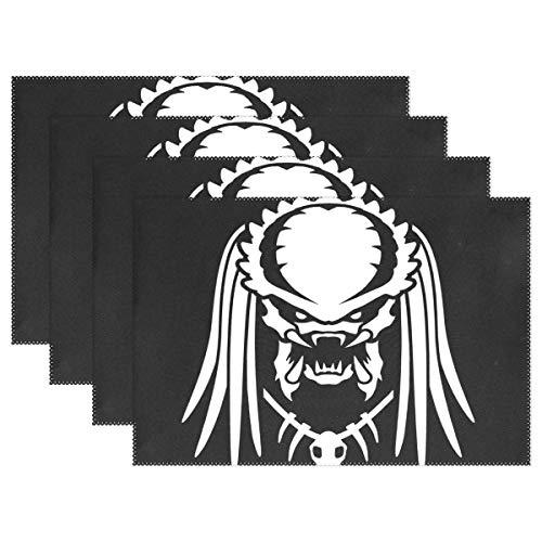 GOSMAO Alien Vs Predator Silueta Mantel Individual para Mesa de Comedor Estera de poliéster Resistente al Calor Antideslizante Juego de 6