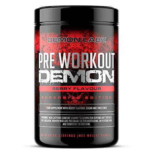 Pre Workout Demon (Berry Flavour) - Hardcore pre-Workout Supplement with Creatine, Caffeine, Beta-Alanine and Glutamine (Supersize - 612 Grams - 80 Servings)