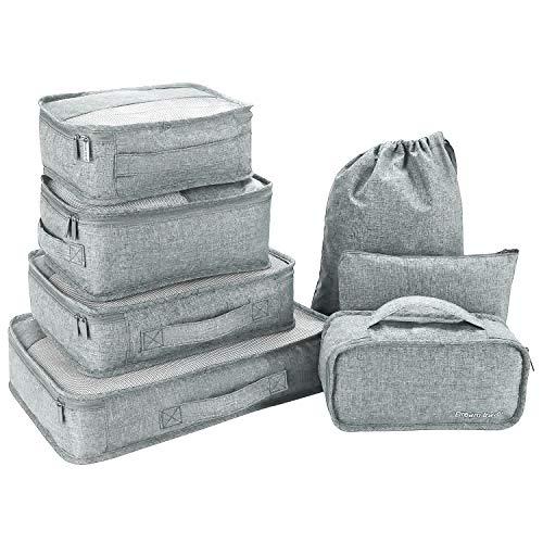 Slimfone1 Packing Cubes 7 Teiliges Kleidertaschen Set, Slimfone Packwürfel Kofferorganizer Packtaschen für Koffer Reisetasche Rucksack Taschen Organiser Gray