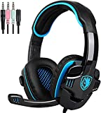 SADES Gaming Headset for PS4, Xbox One,PC Surround Sound Over-Ear Headphones with Noise Cancelling Mic, Soft Comfort Earmuffs for Laptop, Mac, Nintendo(Black)