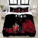 Dodunstyle Funda nórdica, Flores románticas de Rose de San Valentín y Vino para el Amante de la floración Floral roja, Juego de Cama Juegos de Microfibra Ultra cómodos y livianos