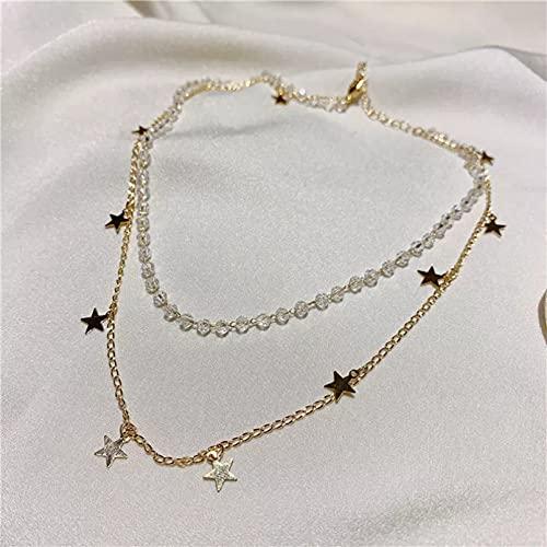 QiuYueShangMao Colgante de Collar Dulce Gargantilla de Cristal de Doble Capa Collar de Estrella para Mujer Cadena de Color Dorado joyería estética Collar de Regalos para mamá y niña Regalo para Ella