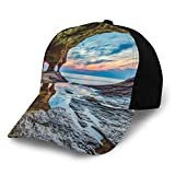 Printed Adjustable Baseball Cap,Rock Shelter with Lake Magical Up on The Sea Mediterranean Wonders Wet Photo,Hat for Men Women Teens