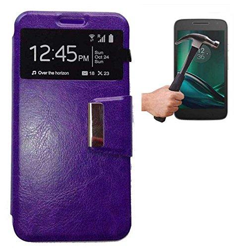 Todobarato24h Funda Libro Ventana Morada Motorola Moto G4 Plus + Protector DE Cristal Templado