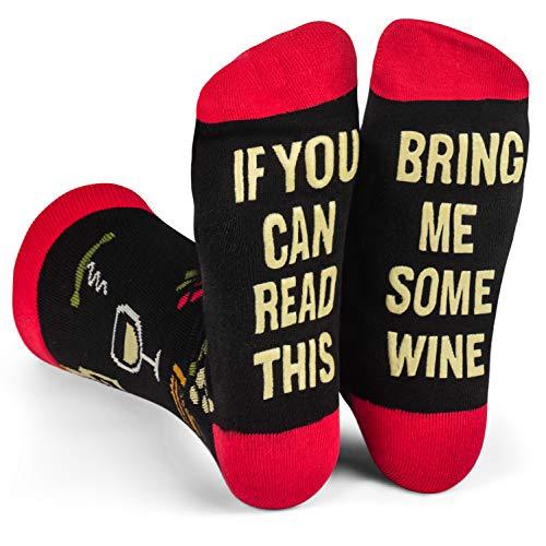 """Lavley Socken mit Aufschrift \""""If You Can Read This Bring Me\"""" (Wenn du dies lesen kannst, bring mir), lustige Socken für Männer und Frauen -  Schwarz -  Einheitsgröße"""