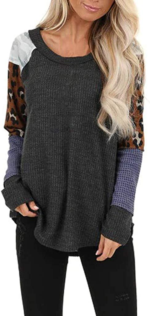 Fastbot women's Waffle Knit Leopard Patchwork Tops Long Sleeves Color Block T Shirt Round Neck Casual Loose Tunic Pullover