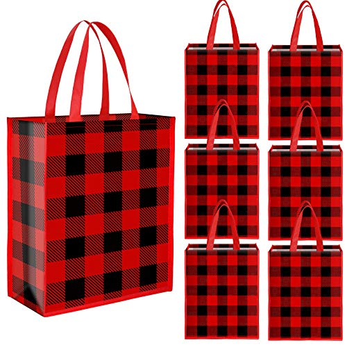 Aneco 12 Pieces Christmas Red and Black Plaid Non-Woven Bags 13.8 x 11 x 4.7 Inches Xmas Party Treat Bags Gift Tote Bags for Parties
