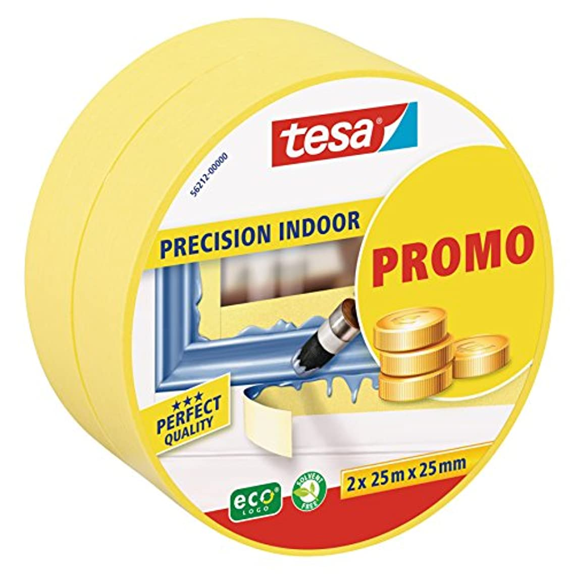 Tesa 56212-00000-00 Pair of Masking Tape Rolls for Indoor Paintwork, 25?m?x?25?mm