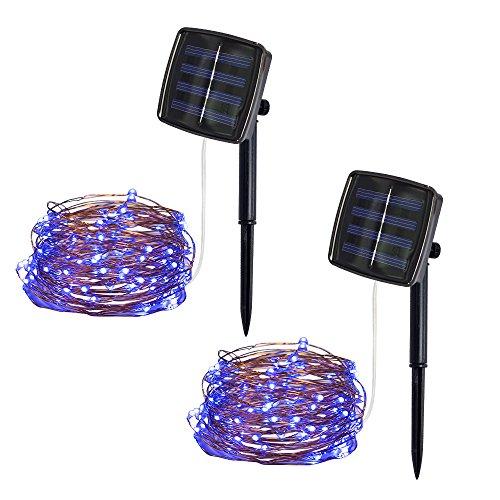 Janly Clearance Sale 5 m 50 luces de alambre de cobre para exteriores, funciona con energía solar, decoración del hogar para el día de Pascua (azul)
