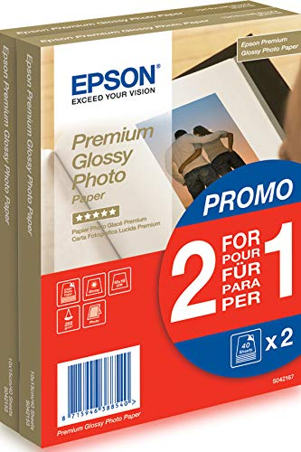 Epson Premium Glossy - Papel fotográfico, 10 x 15 cm, 2 x 40 hojas, 255 g - Glacé