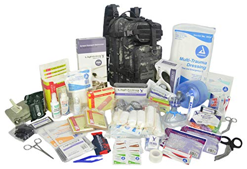 Lightning X Stocked EMS/EMT Trauma & Bleeding First Aid Responder Medical Backpack + Kit (Black Camo)