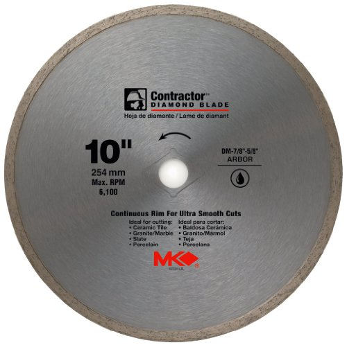 """MK Diamond 167031 10"""" x 5/8"""" Contractor Quality Wet Cutting Continuous Rim Diamond Blade for Tile/Marble"""