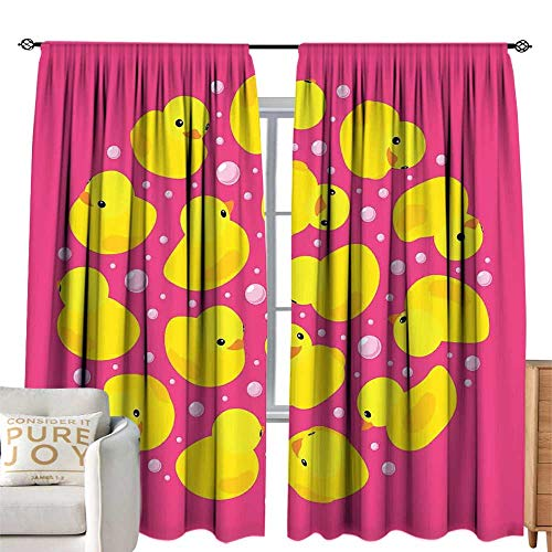 New cobeDecor Extra Wide Curtains Rubber Duck Fun Baby Duckies Circle Artsy Pattern Kids Bath Toys B...