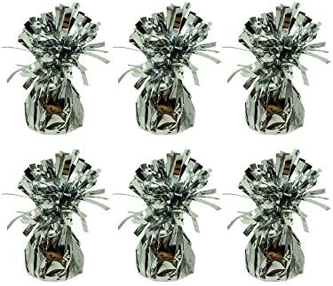 Silver Metallic Balloon Weights 6 Pack For Helium Balloons Party Decorations product image