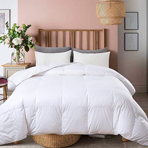 Ubauba All-Season Queen Down Comforter 100% Cotton Quilted Feather Comforter with Corner Tabs. Lightweight Goose Down Duvet Insert White Cotton Comforter - Queen/Full 90x90