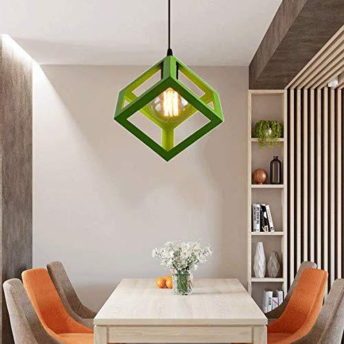 Lámpara de techo de metal estilo vintage industrial, forma cuadrada, E27, lámpara de techo, 22 cm de diámetro, color verde