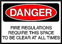 火災規制により、スペースを明確にする必要がある 金属板ブリキ看板警告サイン注意サイン表示パネル情報サイン金属安全サイン
