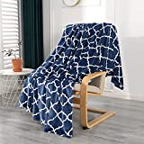 Smile Bee Flannel Fleece Blanket Twin Size, Super Soft Cozy Plush Blankets, Lightweight Microfiber Throw Blanket for Couch Sofa Bed, 60x80 inches, Navy Blue Moroccan
