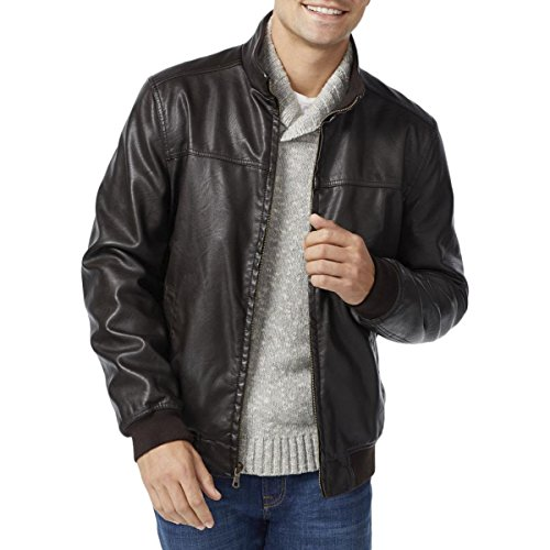 Tommy Hilfiger Men's Faux Leather Stand Collar Bomber Jacket, Dark Brown, Large