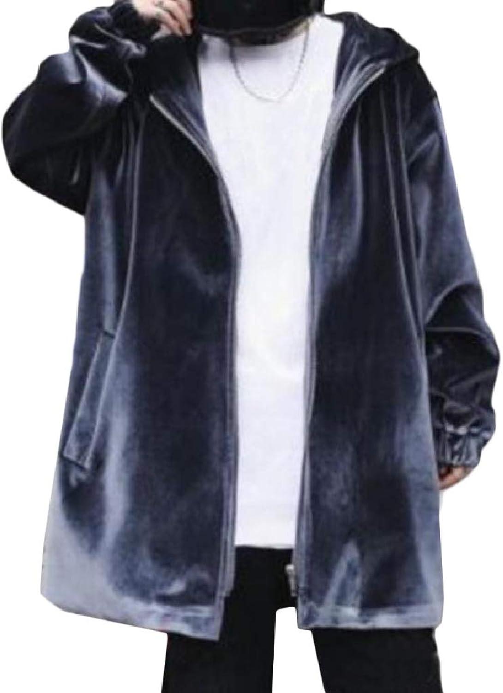 b76256ed2 Abetteric Men Trendy Hooded Trench Fleece Fleece Fleece Hiphop Loose Zipper Winter  Coat 6a9c64